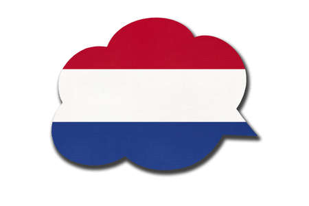 3d speech bubble with Netherlands or Holland national flag isolated on white background. Speak and learn Dutch language. Symbol of country. World communication sign. 免版税图像