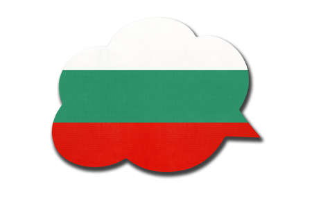 3d speech bubble with Bulgaria national flag isolated on white background. Speak and learn Bulgarian language. Symbol of country. World communication sign.