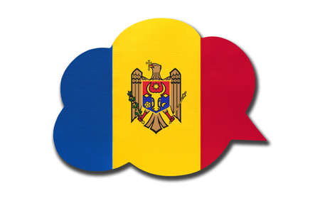 3d speech bubble with Moldova national flag isolated on white background. Speak and learn Moldovan language. Symbol of country. World communication sign. 免版税图像