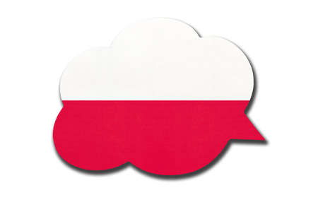 3d speech bubble with Poland national flag isolated on white background. Speak and learn Polish language. Symbol of country. World communication sign.