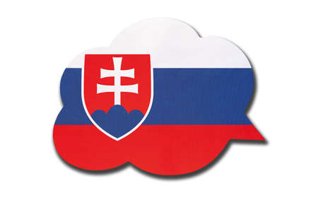 3d speech bubble with Slovakia national flag isolated on white background. Speak and learn Slovak language. Symbol of country. World communication sign. 免版税图像