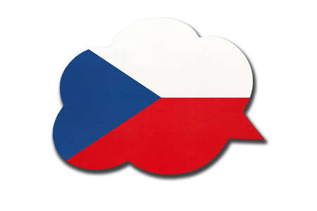3d speech bubble with Czechia national flag isolated on white background. Speak and learn Czech language. Symbol of country. World communication sign. 免版税图像
