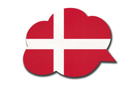 3d speech bubble with Denmark national flag isolated on white background. Speak and learn Danish language. Symbol of country. World communication sign. 免版税图像