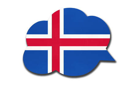 3d speech bubble with Iceland national flag isolated on white background. Speak and learn Icelandic language. Symbol of country. World communication sign.