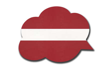 3d speech bubble with Latvia national flag isolated on white background. Speak and learn Latvian language. Symbol of country. World communication sign. 免版税图像