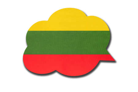 3d speech bubble with Lithuania national flag isolated on white background. Speak and learn Lithuanian language. Symbol of country. World communication sign. 免版税图像