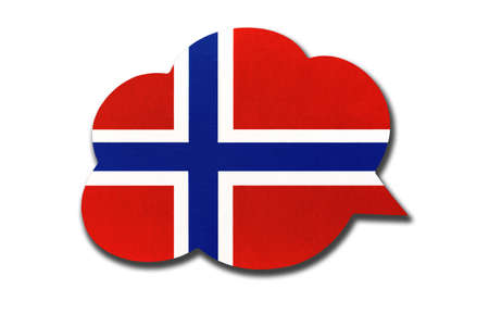 3d speech bubble with Norway national flag isolated on white background. Speak and learn Norwegian language. Symbol of country. World communication sign.