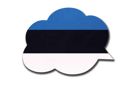 3d speech bubble with Estonia national flag isolated on white background. Speak and learn Estonian language. Symbol of country. World communication sign.