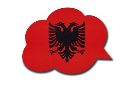 3d speech bubble with Albania national flag isolated on white background. Speak and learn Albanian language. Symbol of country. World communication sign.