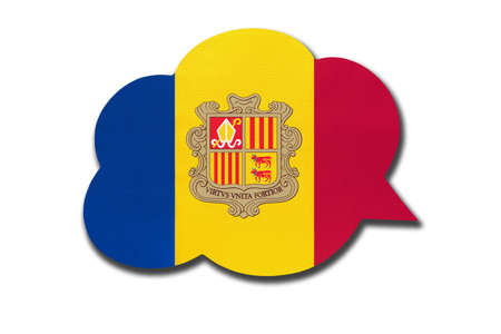 3d speech bubble with Andorra national flag isolated on white background. Speak and learn Catalan language. Symbol of country. World communication sign. 免版税图像