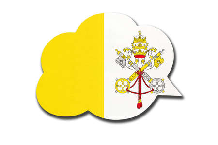 3d speech bubble with Vatican City national flag isolated on white background. Symbol of country. World communication sign.