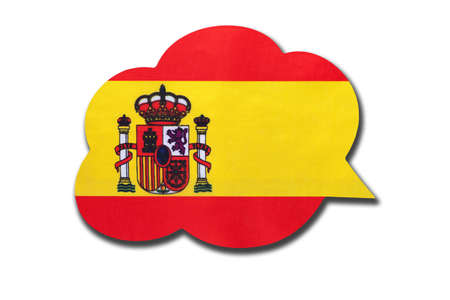 3d speech bubble with Spain national flag isolated on white background. Speak and learn Spanish language. Symbol of country. World communication sign. Banque d'images