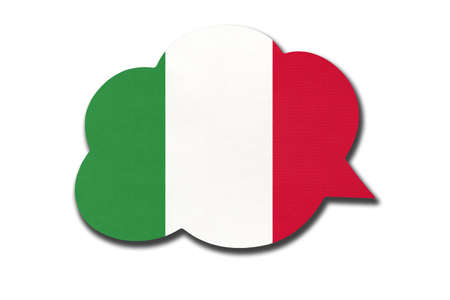 3d speech bubble with Italy national flag isolated on white background. Speak and learn Italian language. Symbol of country. World communication sign. 免版税图像