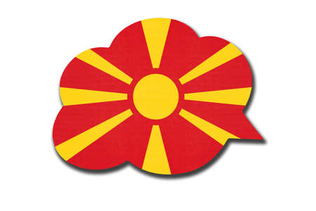 3d speech bubble with North Macedonia national flag isolated on white background. Speak and learn Macedonian language. Symbol of country. World communication sign.
