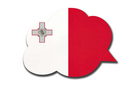 3d speech bubble with Malta national flag isolated on white background. Speak and learn Maltese language. Symbol of country. World communication sign.