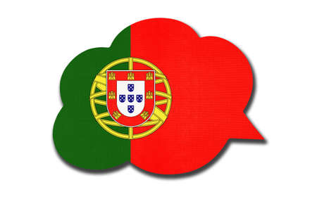 3d speech bubble with Portugal national flag isolated on white background. Speak and learn Portuguese language. Symbol of country. World communication sign.