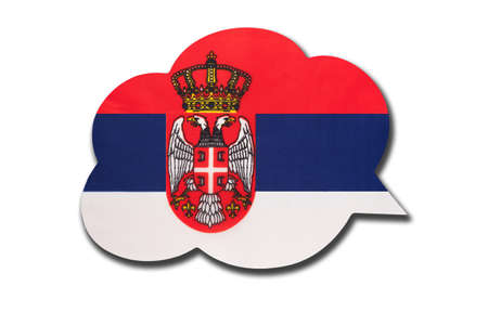 3d speech bubble with Serbia national flag isolated on white background. Speak and learn Serbian language. Symbol of country. World communication sign.