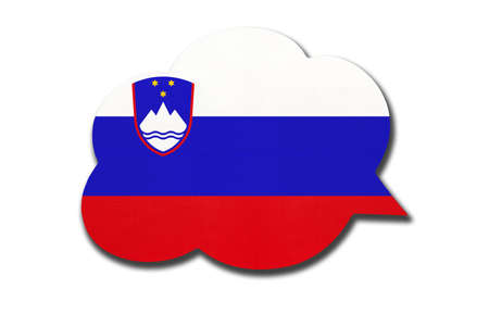 3d speech bubble with Slovenia national flag isolated on white background. Speak and learn Slovene language. Symbol of country. World communication sign. 免版税图像