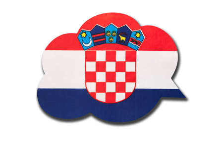 3d speech bubble with Croatia national flag isolated on white background. Speak and learn Croatian language. Symbol of country. World communication sign.