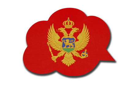 3d speech bubble with Montenegro national flag isolated on white background. Speak and learn Montenegrin language. Symbol of country. World communication sign. 免版税图像