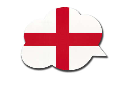 3d speech bubble with England national flag isolated on white background. Speak and learn english language. Symbol of country. World communication sign. 免版税图像