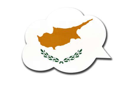 3d speech bubble with Cyprus national flag isolated on white background. Symbol of cypriot country. World communication sign. 免版税图像