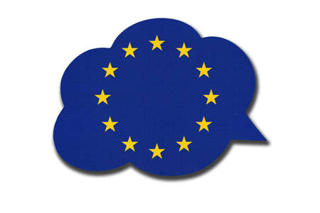 3d speech bubble with European Union national flag isolated on white background. Symbol of EU. World communication sign.