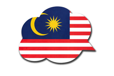 3d speech bubble with Malaysia national flag isolated on white background. Speak and learn Malaysian language. Symbol of country. World communication sign.