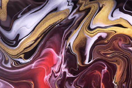 Abstract fluid art background dark red and golden colors. Liquid marble. Acrylic painting on canvas with purple lines and gradient. Alcohol ink backdrop with black wavy pattern.
