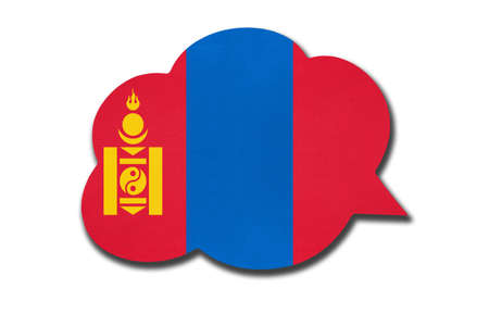 3d speech bubble with Mongolia national flag isolated on white background. Speak and learn mongolian language. Symbol of country. World communication sign.