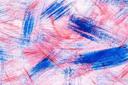 Abstract art background light blue and red colors. Watercolor painting on canvas with pink color strokes and splash. Acrylic artwork on paper with spotted pattern. Texture backdrop. Archivio Fotografico