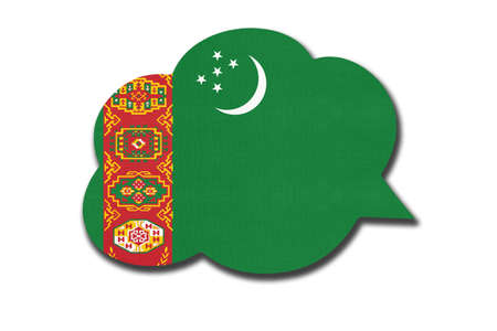 3d speech bubble with turkmenistani national flag isolated on white background. Speak and learn Turkmen language. Symbol of Turkmenistan or Turkmenia country. World communication sign.