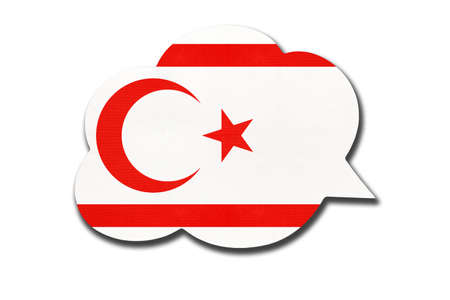 3d speech bubble with cypriot national flag isolated on white background. Speak and learn Turkish language. Symbol of Northern Cyprus or TRNC country. World communication sign.