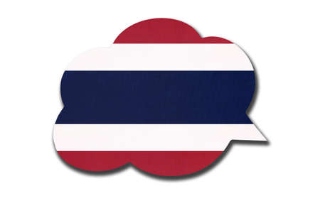 3d speech bubble with Thailand or Siam national flag isolated on white background. Speak and learn thai language. Symbol of country. World communication sign. Archivio Fotografico