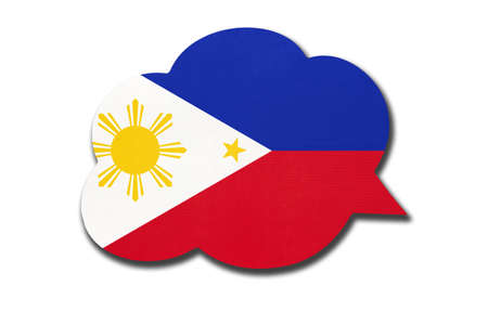 3d speech bubble with Philippines national flag isolated on white background. Speak and learn Filipino language. Symbol of country. World communication sign.