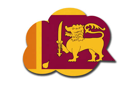 3d speech bubble with lankan national flag isolated on white background. Speak and learn Sinhala or Tamil language. Symbol of Sri Lanka country. World communication sign.