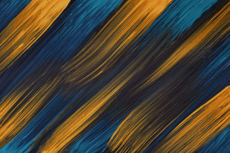 Abstract art background navy blue and dark golden colors. Watercolor painting on canvas with yellow strokes and splash. Acrylic artwork on paper with spotted pattern. Texture backdrop. Archivio Fotografico