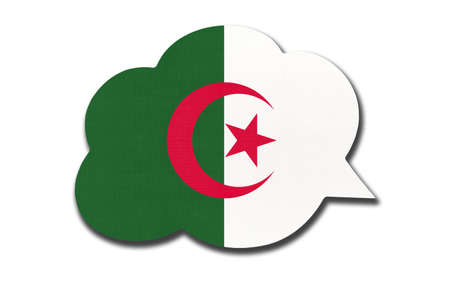 3d speech bubble with Algerian national flag isolated on white background. Speak and learn language. Symbol of Algeria country. World communication sign.
