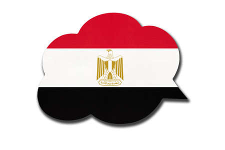 3d speech bubble with Egyptian national flag isolated on white background. Speak and learn language. Symbol of Egypt country. World communication sign.
