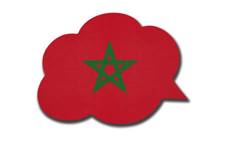 3d speech bubble with Moroccan national flag isolated on white background. Speak and learn Berber language. Symbol of Morocco country. World communication sign. Archivio Fotografico