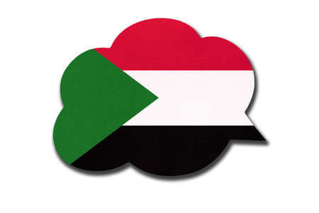 3d speech bubble with Sudanese national flag isolated on white background. Speak and learn language. Symbol of Sudan country. World communication sign.