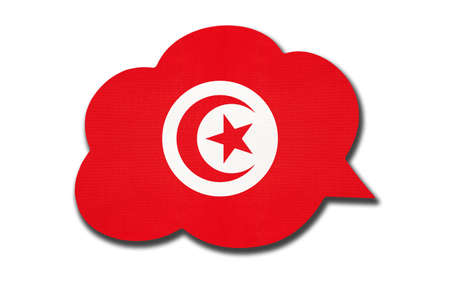 3d speech bubble with Tunisian national flag isolated on white background. Speak and learn language. Symbol of Tunisia country. World communication sign. Archivio Fotografico