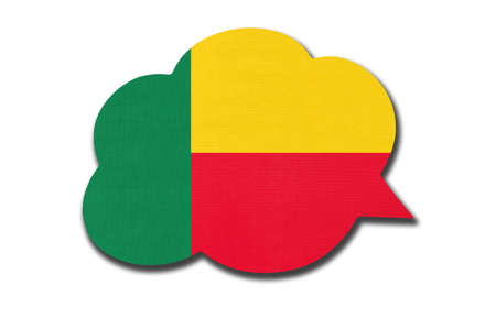 3d speech bubble with Beninese national flag isolated on white background. Speak and learn language. Symbol of Benin country. World communication sign.