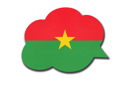 3d speech bubble with Burkinese national flag isolated on white background. Speak and learn Fula language. Symbol of Burkina Faso country. World communication sign.