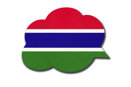 3d speech bubble with Gambian national flag isolated on white background. Speak and learn language. Symbol of The Gambia country. World communication sign. Archivio Fotografico