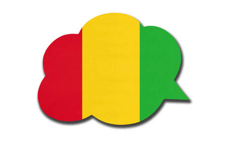 3d speech bubble with Guinean national flag isolated on white