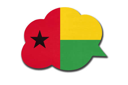 3d speech bubble with Guinea-Bissau national flag isolated on white
