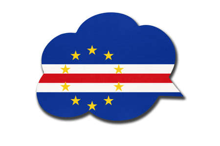 3d speech bubble with Cape Verdean national flag isolated on white Archivio Fotografico