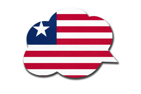 3d speech bubble with Liberian national flag isolated on white