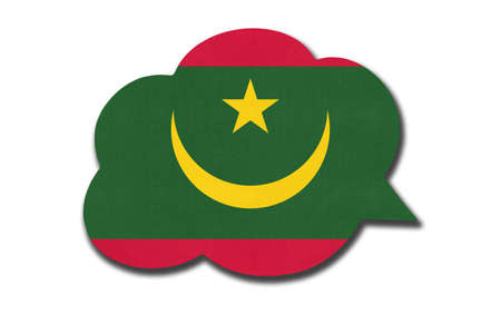 3d speech bubble with Mauritanian national flag isolated on white Archivio Fotografico